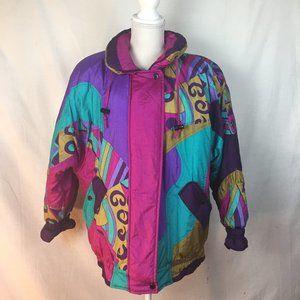 Vintage Izzi Retro Multicolored Ski Puffer Coat